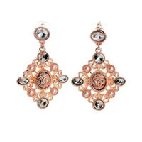 big earrings collection - Pink Diamante Gems Floral Dangle Earrings Chandelier Stud Woman Earring Big Brand Designer Quality Woman Jewelry Accessories Collection