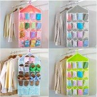 Wholesale 16 Pockets Clear Over Door Hanging Bag Shoe Rack Hanger Storage Tidy Organizer Fashion Home