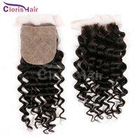 Cheap 4x4 7A Deep Wave Silk Base Closure Cheap Unprocessed Curly Brazilian Human Hair Silk Base Top Closures Free Middle 3 Part Bleached Knots