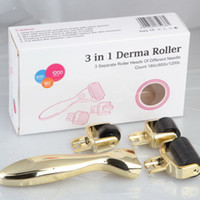 Wholesale 3 in Micro Needle Derma Roller Meso Roller For Acne Scar Freckle set Titanium Skin Rejuvenation In Micro Needle Derma Roller