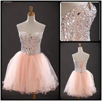 ball high school - Real Photos High School University Knee Length Homecoming Dresses Ball Gown Sexy Prom Dress Silver Beaded Short Homecoming Party Dress