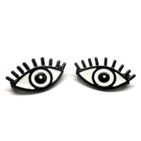african hat - lovely cute white backgroung eye badge pin metal eye lash hat pin badge for garment and bags