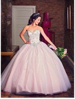 Wholesale Pink Vestidos de Quinceanera Dresses Sweetheart Sleeveless Open Back Lace Hand Beading Floor Length Dress for year