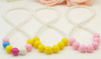 Wholesale 2016 Hot spring and summer children s jewelry pearl necklace candy colored acrylic warhead child Bohemian beautiful girl