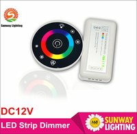 Wholesale 50X DC12V Round Touch dimmer controller for RGB led strip A Wireless Touch Panel RGB full color Remote Controller for RGB LED strip