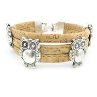 antique gift shop - wood shop owl bracelet cork bracelet Antique Silver Zamak handmade animal bracelet jewelry Birthday Gift Br