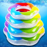 Wholesale Adult Kids Summer Water Sports Toys Rainbow Colors Donut Swimming Ring Inflatable Water Wing Lap For Swim Beginners Seaside Beach Accessory