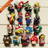 band mario - Novelty Super Mario Bros PVC Shoe Charms PVC Shoe Buckle Accessories fit for Bracelets Bands Croc JIBZ Christmas Gifts