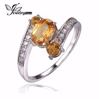 Cheap JewelryPalace 925 Sterling Silver 0.9ct Natural Citrine 3 Stone Anniversary RingWomen Party Fine Jewelry 2016 Brand New