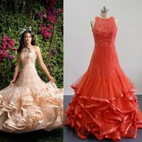 art deco india - 2016 Romantic India Style Mermaid Lace Appliques Prom Dresses Ruffles Puffy Trumpet Tiered Skirts Couple Fashion Real Images