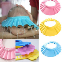 Wholesale 1Pc Soft Baby Kids Best gift Children Shampoo Bath Shower Cap Adjustable Baby Shower Hat Baby Shampoo Cap Wash Hair Shield