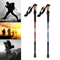 Wholesale Ultra light Adjustable Telescopic Aluminum Alloy Hiking Walking Stick Trekking Pole Alpenstock Section Silver new arrival