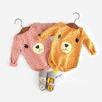 baby clothes teddy bear - Ins super cute baby bodysuit monthes g cotton wool newborn infant cute teddy bear long climb clothes garment