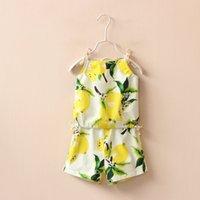 Cheap Fashion 2016 new children outfits girl lemon fruit printed lace-up suspender vest tops +cotton shorts 2pcs sets kids princess clothing A8428