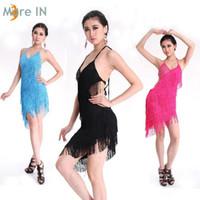 Wholesale Sexy Ladies Latin Dance Dress Backless Fringed Halter Skirts Club wear M005
