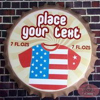 antique metal printing plate - Metal Round Signs Your text US Flag T shirt Tin signs Art Prints Restaurant Diner Bar Wall Decor cm RM