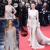 art deco festival - 2016 Cannes Film Festival Zuhair Murad Sparkly Luxury Crystal Beaded Celebrity Dresses V neck Over Skirt Mermaid Split Evening Dresses
