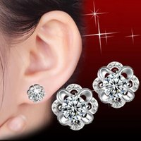 animal preservation - Fashion cute flower preservation charm crystal stud earrings sterling silver plated high quality cheap jewelry for women earrings