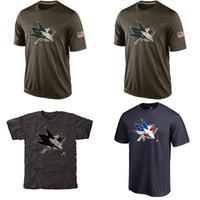 Wholesale NHL San Jose Sharks T Shirts cheap Hockey jerseys Tshirts Salute To Service Black Rink Warrior Tri Blend
