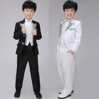Wholesale Fashion Sequins Blazer Pieces Formal Suit Set Long Sleeve Tuxedo Children s Stage Performance Clothing