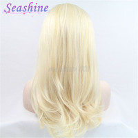 beyonce blonde hair - High Quality Synthetic hair Short Long Natural Wave Wig Blonde Lace Front Wig hand tied Beyonce kanekalon hair wig