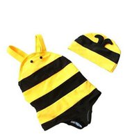 Wholesale Nana Toddler Boys Swimsuit Bath Suit Cute Bee Design One Piece Swimwear with A Matched Cap Cartoon Yellow Black