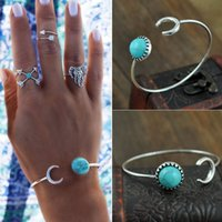 Wholesale Gypsy Bohemian Beach Vintage Silver Natural Turquoise Cuff Bangle Turkish Punk Moon Bangles Bracelets For Women Open Arm Cuff Fine Jewelry