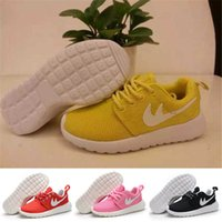 air techniques - Breathable Kids Roshe Run Runningl Shoes for Girls Retro Leather Closed Round Toe Boys Shoes with DMX Technique