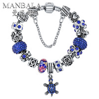 Wholesale MANBALA Fashion Sea Turtle Handmade Charm Bracelets Bangles European Rhinestone Beads Bracelets for Women Sapphire Color Jewelry T01BM