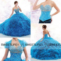 Wholesale 2016 Luxury Beaded Crystals Ball Gown Quinceanera Dresses Detachable Train Sweetheart Junior Pageant Sweet Princess Years Debutante Gowns