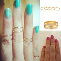Cheap Women Band Midi Ring Urban Gold stack Plain Cute Above Knuckle Nail Ring Christmas Gift