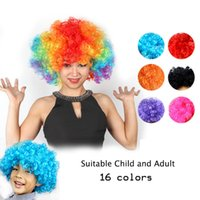 Wholesale Halloween Rainbow Afro wigs curly wig Clown Child Adult Costume Wig Hair