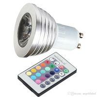 Wholesale RGB LED Bulb Color Changing W LED RGB Spotlights E27 GU10 with Key IR Remote Control Disco Lights
