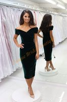 Wholesale 2016 Velvet Graduation Dresses with Off Shoulder and Tea Length Custom Made Sheath Cocktail Party Gowns Custom Made