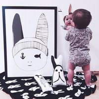 Reference Images babies quilt - 90 cm baby blanket newborn child cartoon Rabbit blanket Black White Cross Knitted Plaid For Bed Sofa BedSpread flannel MC0274