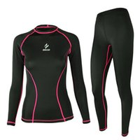 Wholesale ARSUXEO Ladies Woman Long Sleeve Tight Base Layer Cycling Clothing Set Bicycle Jersey Pants Fitness Bodybuilding Sportswear Suit