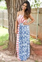 american flag dress - 2016 New Fashion In Summer American Flag Printed Gown Sexy Strapless Sleeveless Hight Waist Dress Skirt B