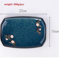 Wholesale Sushi Sashimi Cold Dishes Dessert Cake Seafood Plate China Ceramic Platter Tray Decorative Sakura Irregular Artwork Design