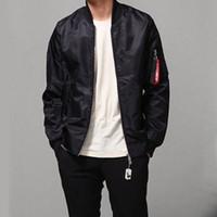 Wholesale 2017 New Pilot Flight Jacket Men s Green Black Bomber Jackets Coat Hip Hop Plain Zip Sweatshirt Hoodies Autumn Winter Coats Outwear YYF0801