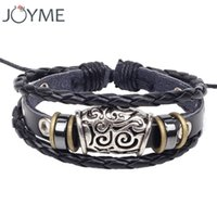 beaded layered bracelets - Leather Rope Wrap Bracelet For Men Women Cool Vintage Adjustable Charm Stainless Steel Bracelets Layered Punk Jewelry