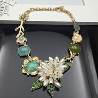 Cheap NEW Fashion Women Collar Pendant Chain Necklace Statement Necklaces Gorgeous Gemstone & Big Pearl Flower & Czech diamond Jewelry Wholesale