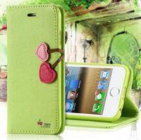 Para el iPhone 5 5S SE cajas del teléfono de la alta calidad del cuero precioso corazón de la cereza de la cubierta del tirón para el iPhone 5 5S SE 4 4S ranuras de tarjetas telefónicas Bolsas