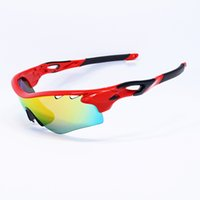 plastic lens - 2016 Fashion Radarlock Sports Sunglasses Polarized Oculos Women Men plastic frame Iridium flash OO9181 zipper case interchangeable Lens