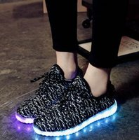 Wholesale Colorful lights fly new shoes for men and women weaving shoes luminous fluorescent shoes USB LED coconut light emitting shoes children shoes
