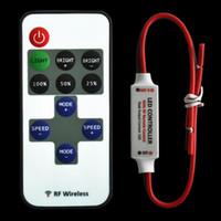 Wholesale 1set Mini Wireless Single Color Remote Control Dimmer DC V keys RF LED Controller for led Strip light SMD