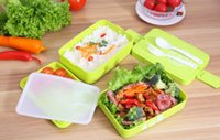 bento box sets - New Arrive Three Layer Rectangle Lunch Box Container Eco Friendly Lunchbox Bento Container For Food Dinnerware Sets