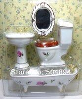 bathroom mirror kit - 4pcs Bathroom set Water Closet Porcelain kits Basin Toilet Bathtub mirror Scale Dollhouse Furniture Miniature