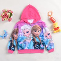 Wholesale 4pcs new frozen clothes fashion gir cartoon spring jacket hoodies for girl autumn winter outwear