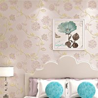 Wholesale non woven wallpaper waterproof wallpaper Pastoral flower TV background wall paper The sitting room or bedroom decorate a wallpaper