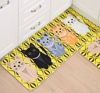 Wholesale New Fashion Hot Sale Lovely Cat Cartoon Bath Living Room Bedroom Mats Floor Table Mats Non Slip Kitchen Carpet Doormats X80CM